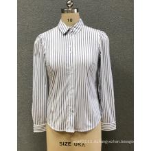 женская белая рубашка в полоску