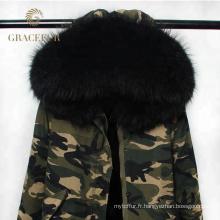En gros femme hiver réel fourrure doublée parka veste armée vert fourrure hotte