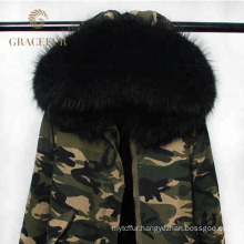 wholesale woman winter real fur lined parka jacket army green fur hood