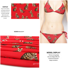 Polyester Spandex Tiger Printed Swimwear and Garment Fabric