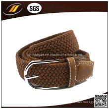 Women Leather Belt Pattern Logo Brown Color Elastic Belt