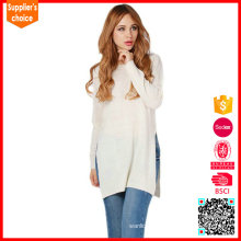 Latest design cashmere lady blend knitwear cashmere crewneck sweater