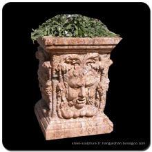 Décoration de jardin à bas prix marron en granit pierre flowerpot