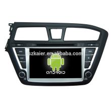 Venda quente, android 4.4.2 carro dvd com GPS, wi-fi, Bluetooth, MIRROR-CAST, AIRPLAY, DVR, Jogos, Dual Zone, SWC para Hyundai I20