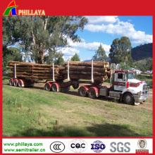 Remorque à bûches à double essieu en bois de transport