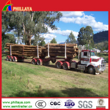 Transport Wood Double Axles Skeleton Log Trailer