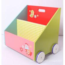 Kids Mobiliário Livro de madeira Container Toy Box Caixa de armazenamento com rodas