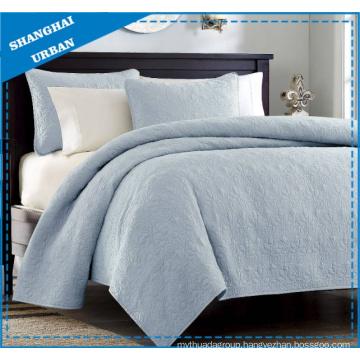 Blue Solid Polyester Ultrasonic Bedspread Set