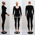Newly Fashion Purlish Black Lace Spice Long Sleeve Sexy Women Jumpsuits