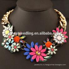 2015 модная мода Европейский большой цветок цветок смолы большой камень ожерелье