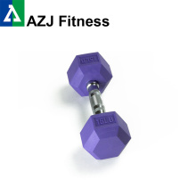 Dumbbell de borracha de cor 15LB Hex