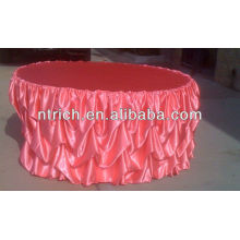 Hot sale durable table cloth for outdoor weddings, satin ruffled table cloth