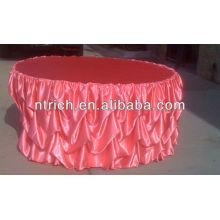 Pano de tabela durável de venda quente para casamentos ao ar livre, toalha de mesa de babados em cetim