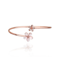 Wholesale Zhejiang rose gold crystal and opal avenue accessories open bangle flower bracelet