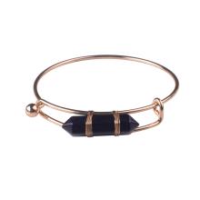 Bracelet manchette pour filles en or plaqué or avec pierre hexagonale