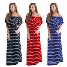 Мода лето цифровой печать в полоску женские повседневные платья с коротким рукавом вечернее платье