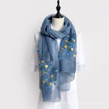 Bela vida moda sarja lenço de seda hijab bordado projeta lenço pashmina