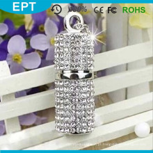 Promocional OEM Tin Cilindro Forma de jóias de cristal USB Memory Drives