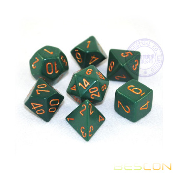 Opaque RPG Polyhedral Green/Copper Dice Set of 7