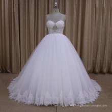 sexy perspective sweetheart appliqued lace wedding dress ball gown