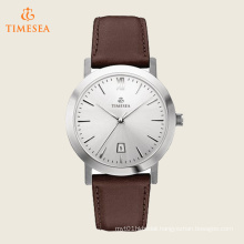 Stainless Steel Watch with Brown Leather Band 71190