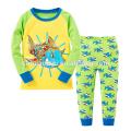 Nuevo diseño azul claro de manga larga impreso Animal Cartoon Boy niños pijama
