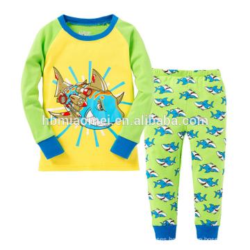 New Design Light Blue Long Sleeve Printed Animal Cartoon Boy Children Pajamas