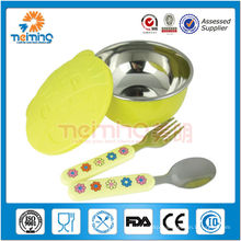 colorful stainless steel kids bowl with lid
