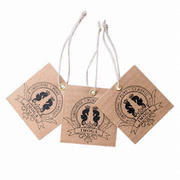 Kraft Paper Garment Hang Tags, Widely Used for Clothes, Bags, Shoes Etc, Any Size, Designs Available