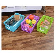 Rangement de panier de cuisine en plastique écologique multi-usages avec poignée