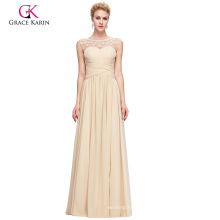 Grace Karin Elegant Sleeveless Boat Neck Tan Chiffon Long Prom Dress 2017 GK000090-1