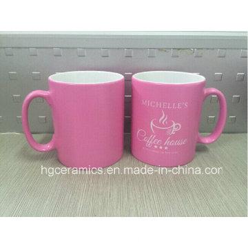 Tasse de couleur de pulvérisation, tasse d'impression couleur rose