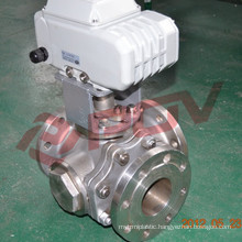 Flanged ball t type 3 way motor valve 24v 4''