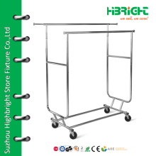 Double rolling collapsible rack with four wheels