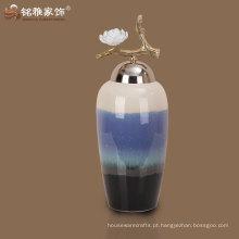 Vaso de flor de porcelana de design elegante de alta qualidade com tampa para decoração de hotel em casa