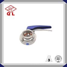 Válvula Borboleta Sanitária em Aço Inoxidável com Punho de Plástico