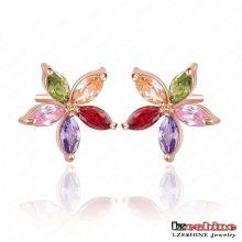 12 * 12mm Boucles d'oreilles en peau de zircon mince en fleurs (CER0019)