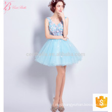 Endearing Women Short Blue Sleeveless Chiffon Guangzhou Wholesale Evening Dress