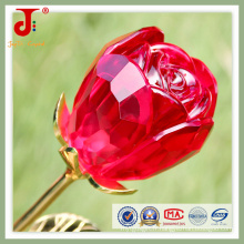Fleur de verre en cristal rouge grande rose ouverte (JD-CF-101)