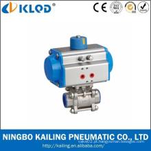 Válvula de esfera pneumática de 3 pcs / válvula de esfera pneumática do aço inoxidável
