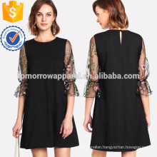 Botanical Embroidery Mesh Flounce Sleeve Dress Manufacture Wholesale Fashion Women Apparel (TA3161D)