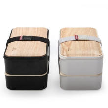 Eco-Friendly Plastic Bamboo Bento Lunch Box for Kids and Adults