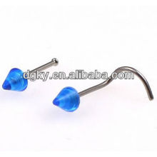 Cone top banana shape stainless steel nose studs body jewelry