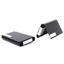 Support de cartes de visite de poche en métal enduit en cuir de cadeaux d'affaires haut de gamme