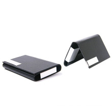 High End Business Gifts Leather Coated Metal Pocket Business Cards Holder