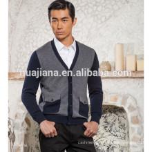 men's cashmere V neck knitting cardigan