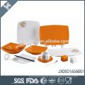 Umweltfreundliche Großhandel orange Tupfen Keramik Essgeschirr italienischen Design