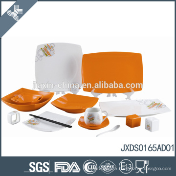 Eco-friendly wholesale orange polka dots ceramic dinnerware italian design