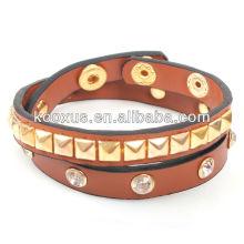 Mode Leder Armband mit Kristall und Spike Niet KSQN-23