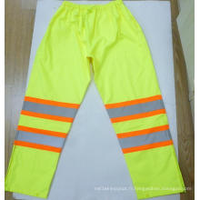 Pantalons de pluie de sécurité de haute visibilité imperméables